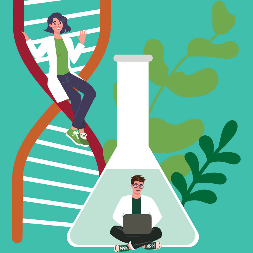Vector image of woman on dna strand and man on computer in front of flask