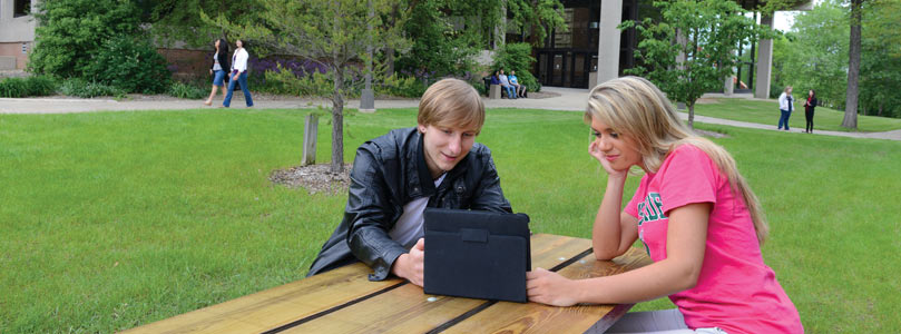Students studying outside Wyllie Hall