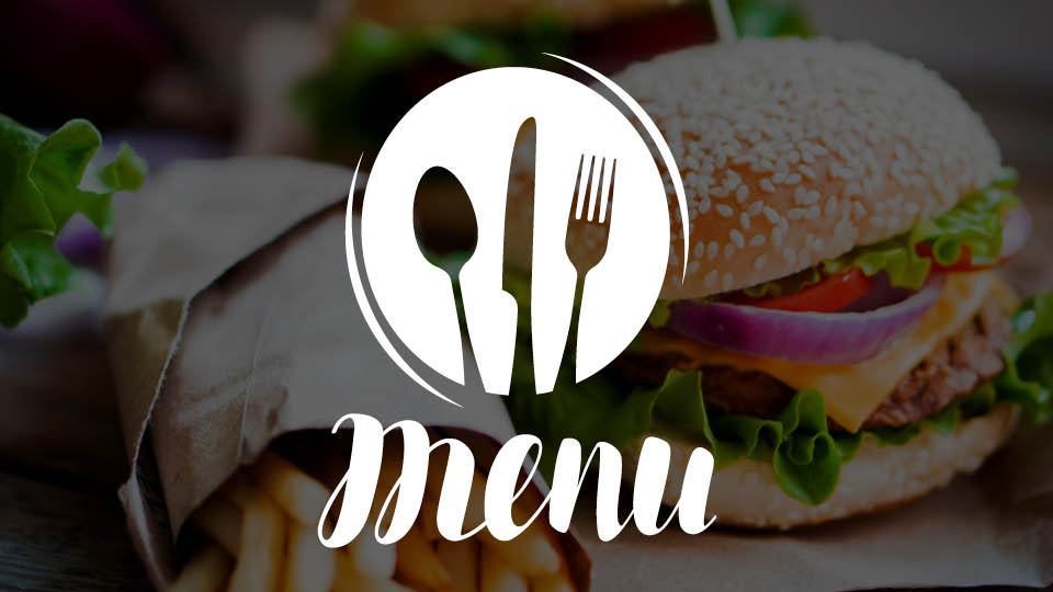image of menu icon, plate fork spoon knife on top of food background