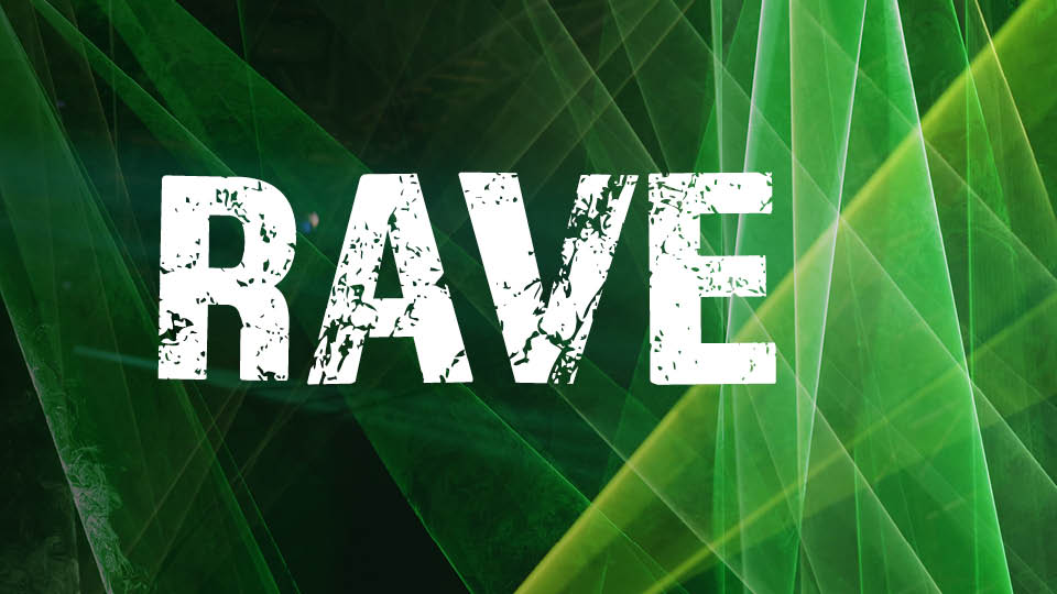 green laser background with RAVE word
