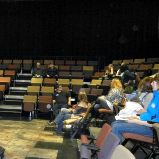 Prospective students in the black box theatre
