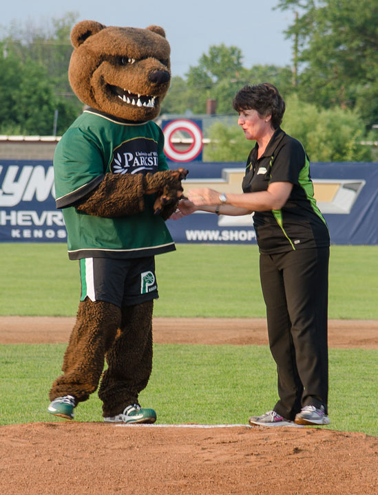Chancellor Ford and Ranger Bear at Kingfish Game