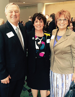Chancellor Debbie Ford with Tom and Jackie Nelson