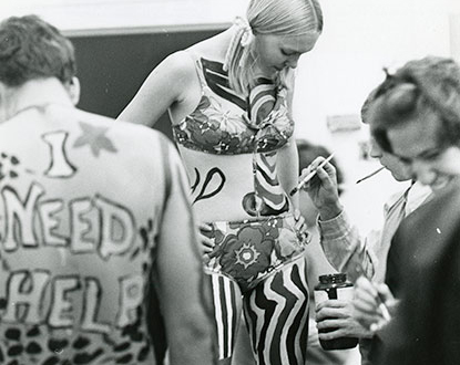 The end - female student being painted.