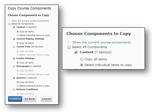 Choose the course components you wish to copy to your new course site