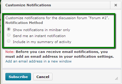 Discussions Custom Notifications