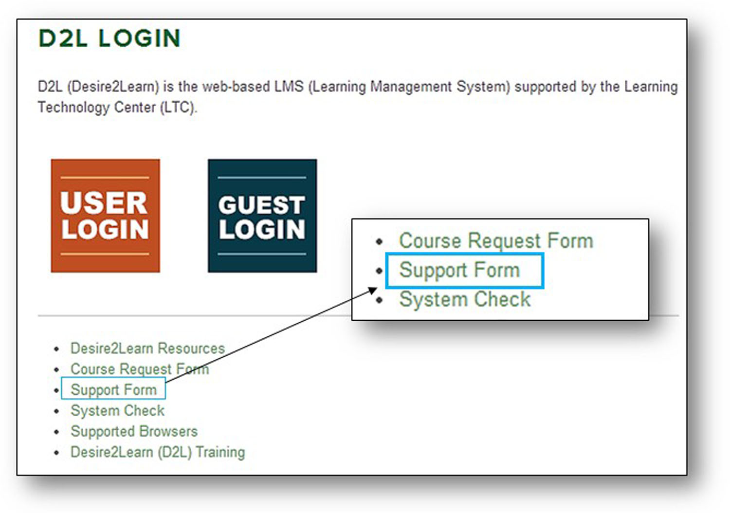 d2l support form image