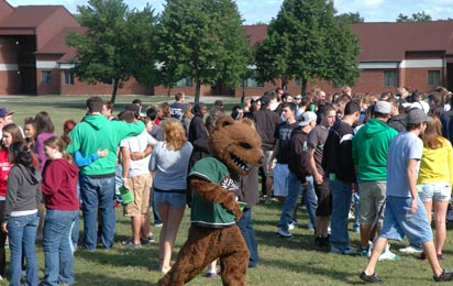 Ranger Bear plays at UW-Parkside