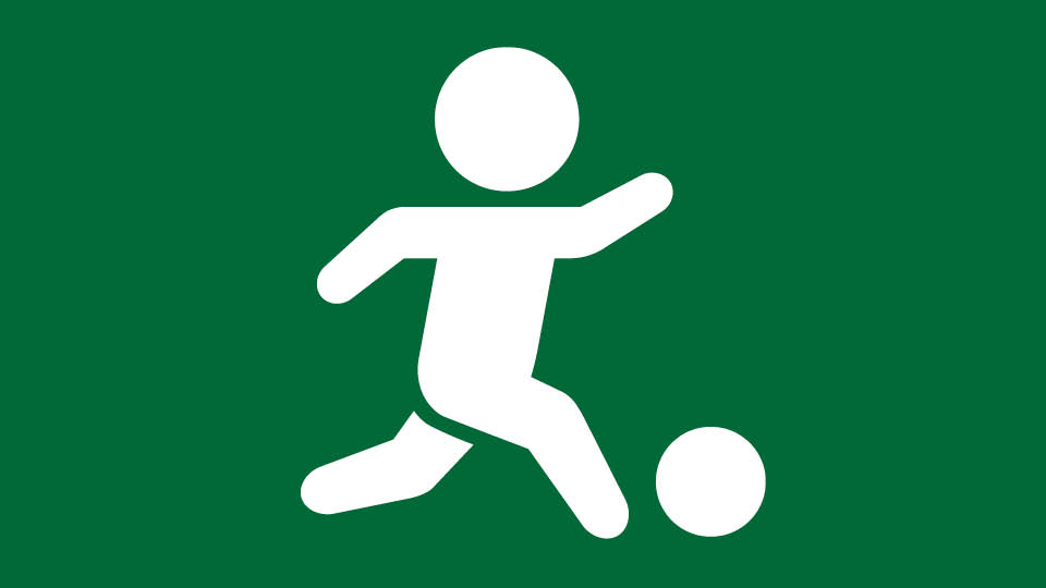 green button with white youth icon playing soccer