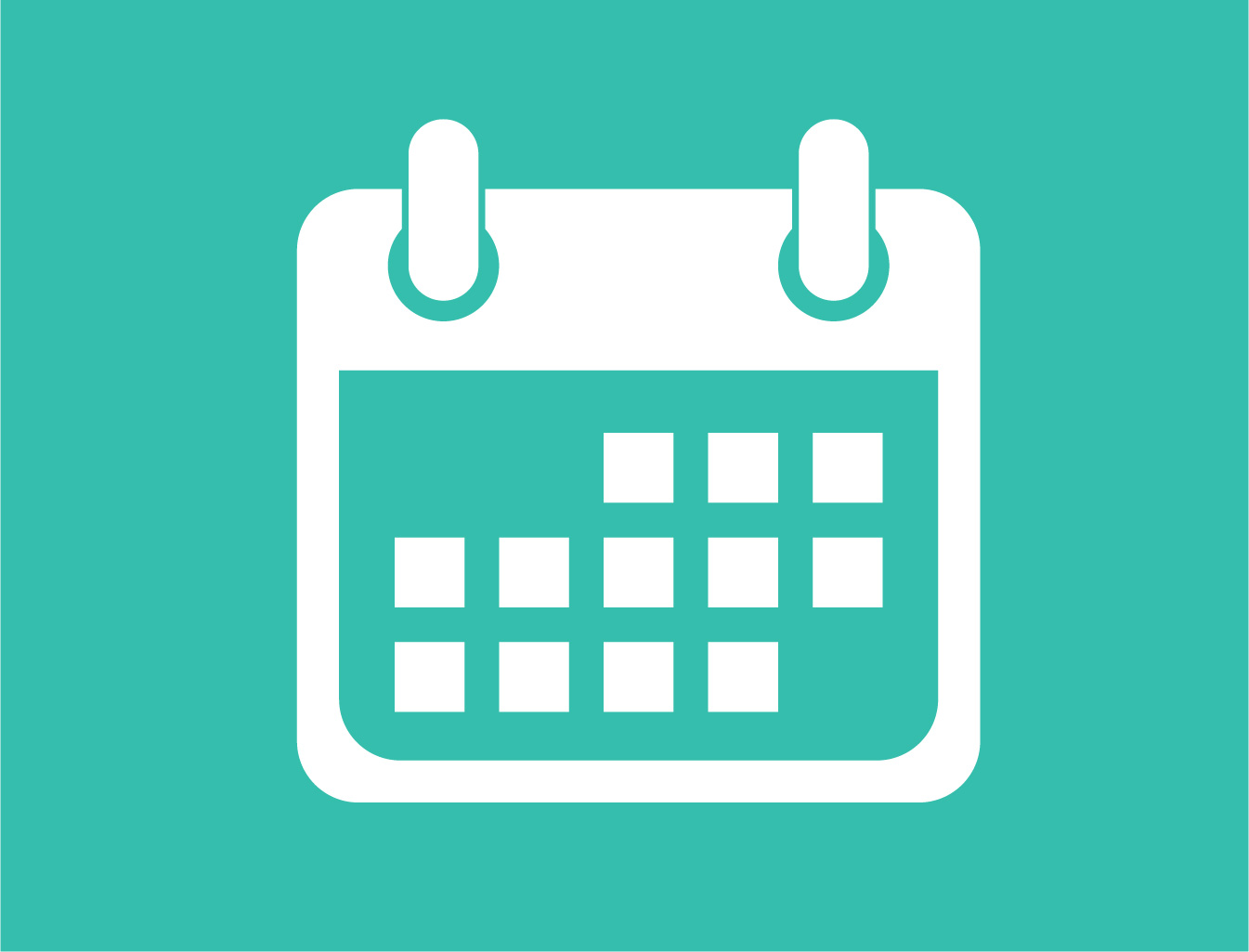 icon with a calendar on light blue background