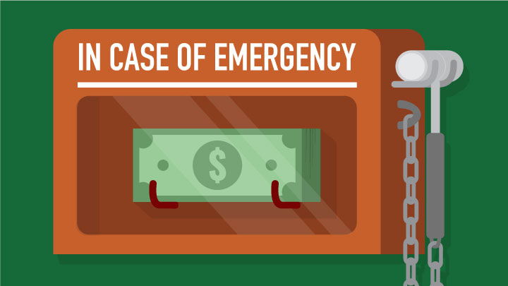 In case of emergency...money in a glass fronted case