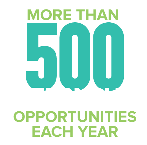 more than 500 internship opportunities
