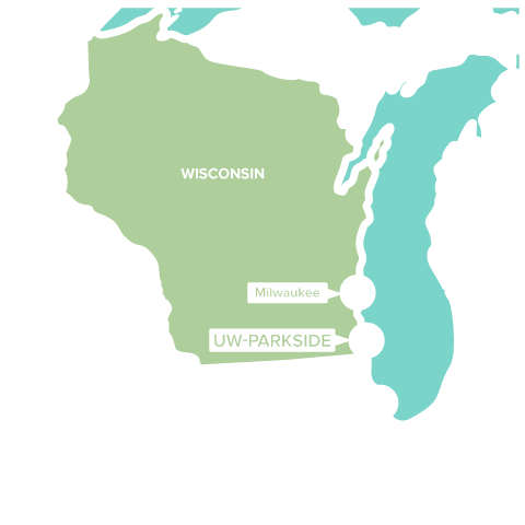 UW-Parkside is located between Milwaukee and Chicago.