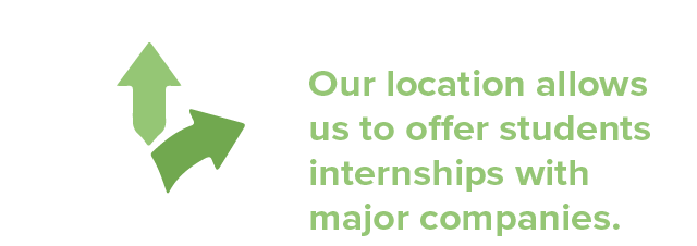 Out location allows us to offer students internships with major companies.