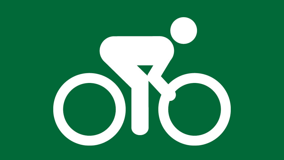 green background with white bike rider icon