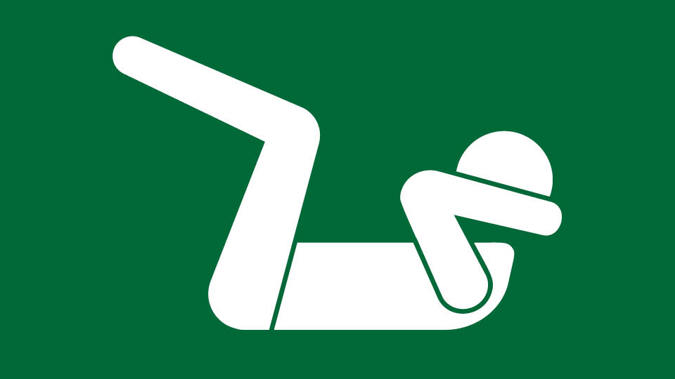 white icon on green background, person doing crunches