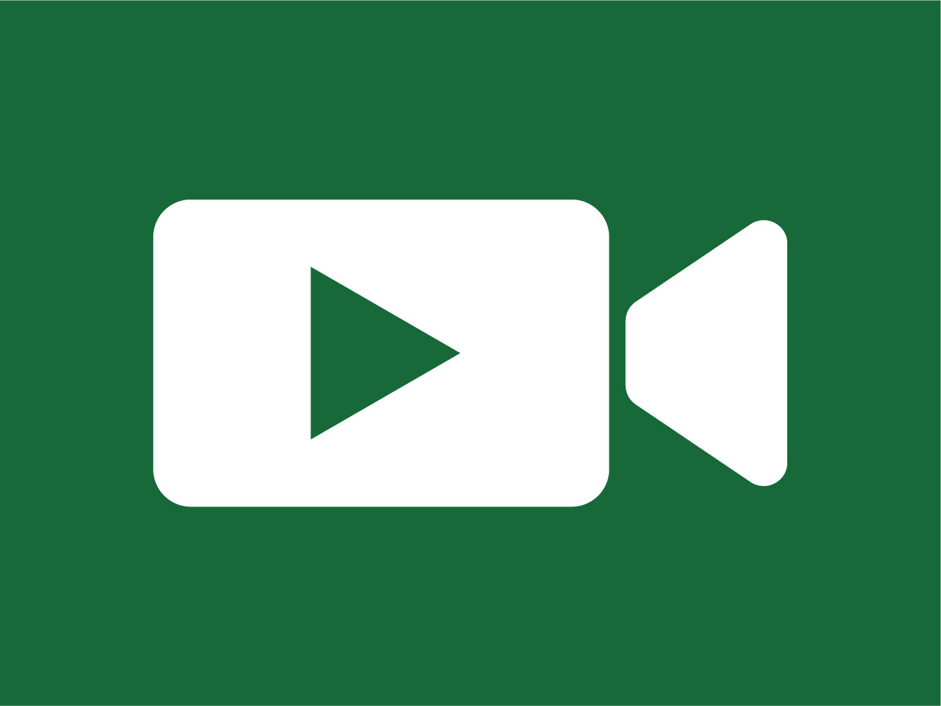 White video icon on green background