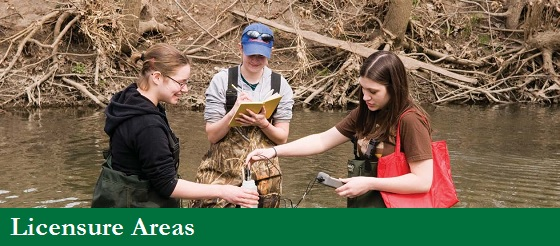 UW-Parkside IPED licensure areas image link, girls collecting data in swamp