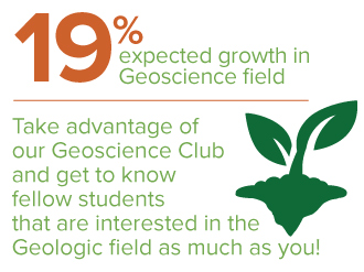 Geosciences infographic - 19% expected growth, join geosciences club