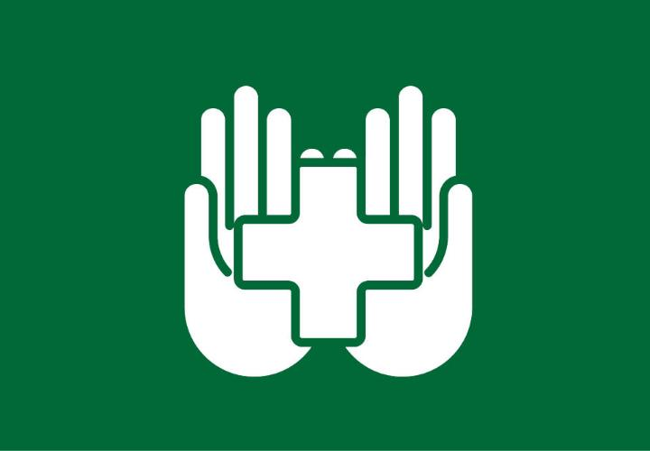 Icon of hands with med cross
